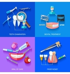 Flat 2x2 Dentist Icons Set vector image vector image