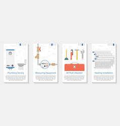 four banner for plumber service vector image