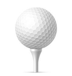 Golf ball on white tee vector image