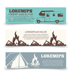 vintage camping banners template collection vector image