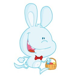 Blue Bunny Running With Easter Eggs In A Basket vector image vector image