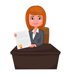 business woman agent giving a presentation vector image