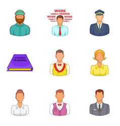 hard worker icons set cartoon style vector image vector image
