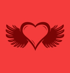 Heart with wings graphic vector image