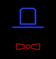 Men hat and tie neon light on a black background vector image vector image
