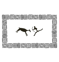 Rock paintings sketch frame for your design vector image