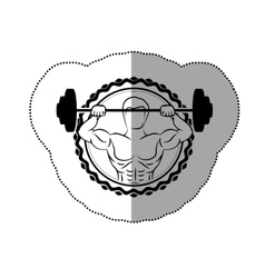 sticker border with black contour muscle man vector image vector image