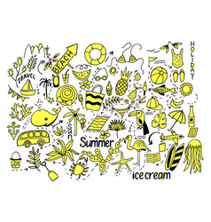summer set with isolated cut images in doodle vector image