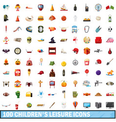 100 children leisure icons set cartoon style vector