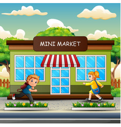 A children going to mini market vector