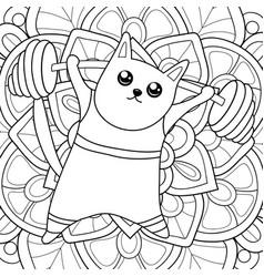 Adult coloring bookpage a kawaii cat doing sport vector