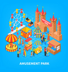 Amusement park isometric background vector