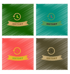 Assembly flat shading style icons history lesson vector