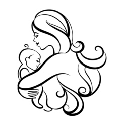 Beautiful mother silhouette with baby Liner logo vector