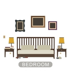 Bedroom interior in flat style vector image