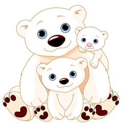 Big Polar Bear Family vector image