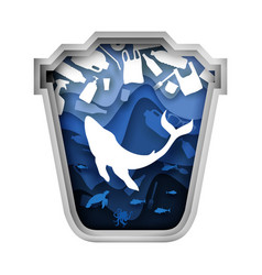 blue trash can with whale and plastic garbage vector image