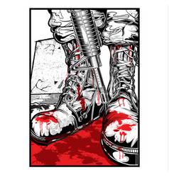 Boots army gun blood army vector