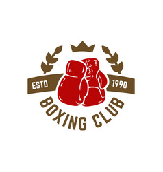 boxing club emblem with boxing hand drawn boxing vector image