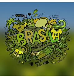 Brasil Summer hand lettering and doodles elements vector