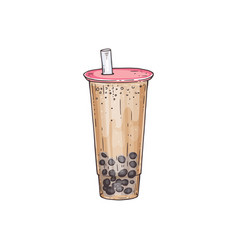 bubble tea cocktail with tubule and tapiola sketch vector image