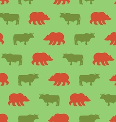 Bulls and bears seamless pattern Green Red Bull vector