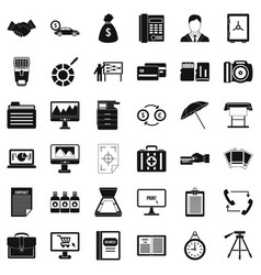 Business department icons set simple style vector