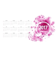 Calendar 2017 week starts from sunday purple vector