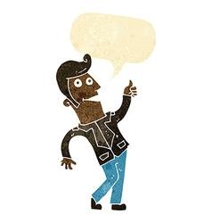 Cartoon man giving thumbs up sign with speech vector