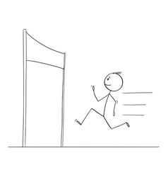 cartoon man or businessman running finishing vector image