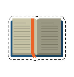 Cartoon open book school learning library vector