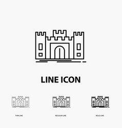 Castle defense fort fortress landmark icon in vector