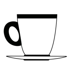Ceramic cup of coffee handle with plate beverage vector