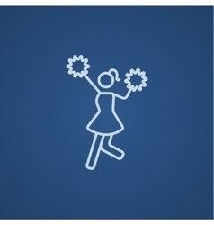Cheerleader line icon vector image