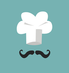 chef hat and big mustache vector image