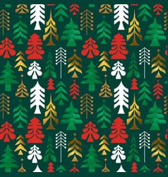 christmas gold folk pine tree art seamless pattern vector image