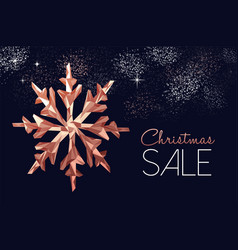 Christmas sale card of copper snowflake vector