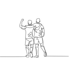 Continuous line drawing two football player vector