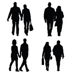 couple set silhouette vector image