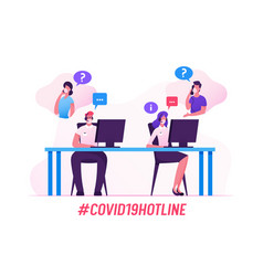 Covid19 hotline operator characters help clients vector
