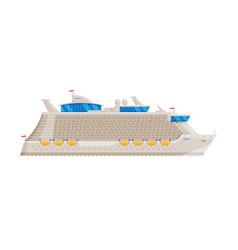 cruise ship side view water transport sea or vector image