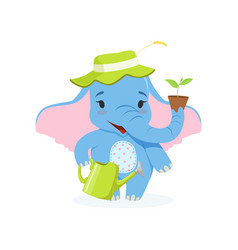 Cute baby elephant gardener funny jungle animal vector