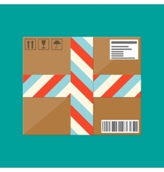 Delivery postal cardboard box vector