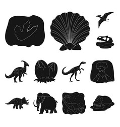 different dinosaurs black icons in set collection vector image