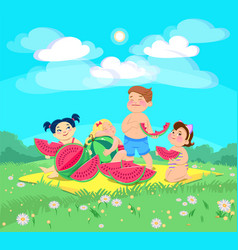 Doodle children at a picnic eating a watermelon vector