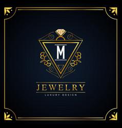 elegant floral jewelry logo design vector image