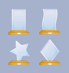 Empty glass trophy awards set glossy vector