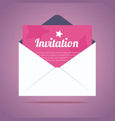 Envelope with invitation card and star shapes vector