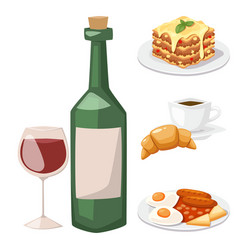 European tasty food cuisine dinner food showing vector