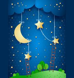 Fantasy landscape by night vector
